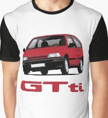 Daihatsu Charade GTti with badge, illustration, red Graphic T-Shirt