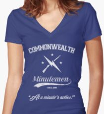 Commonwealth Minutemen Women's Fitted V-Neck T-Shirt