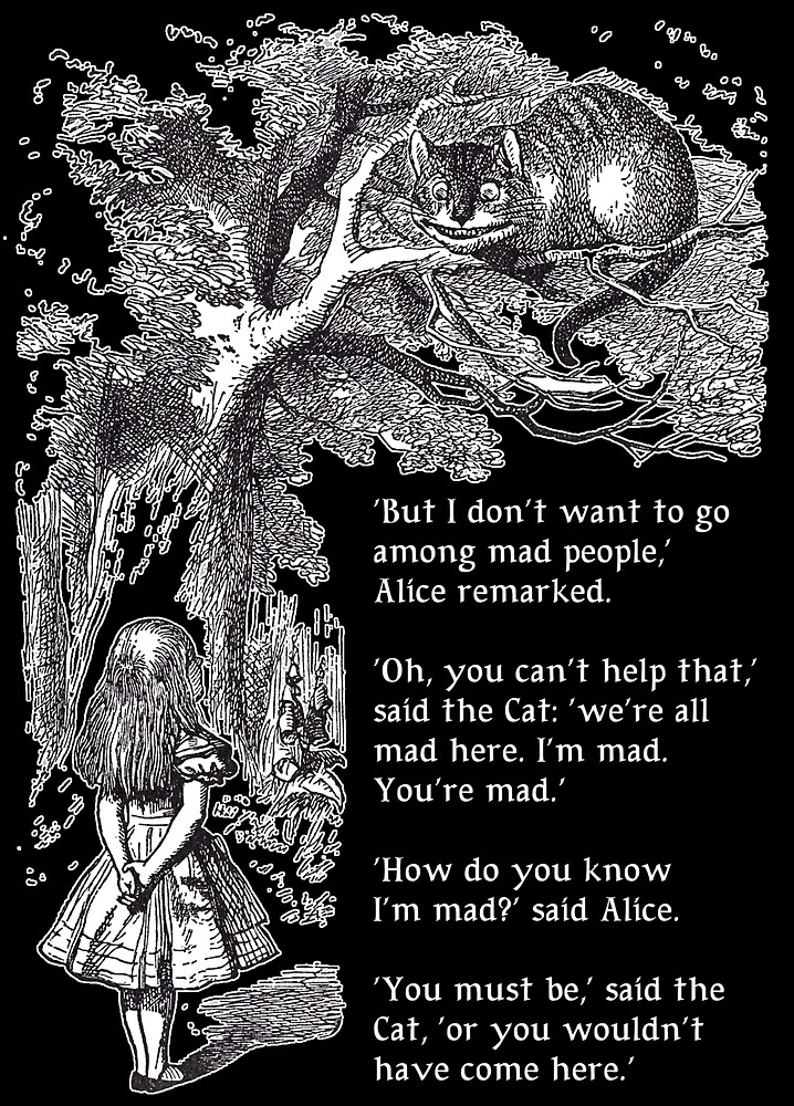 Alice and the Cheshire Cat (for dark  background) by Bonnie Nilsen