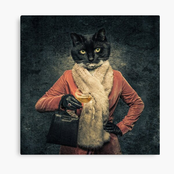 Surreal Cat Human hybrid creature spilling drink Canvas Print