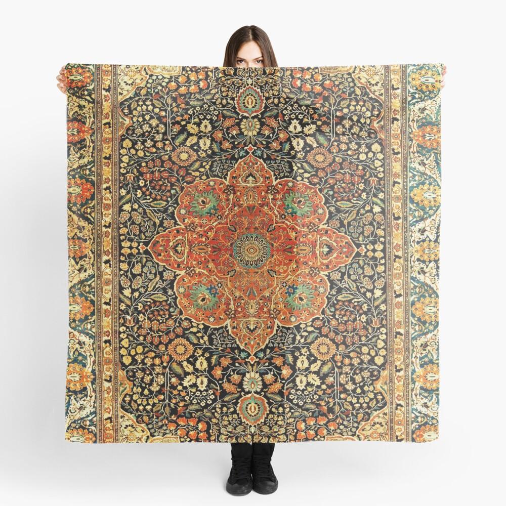 Antique Persian Mohtashem Kashan Rug Print Scarf