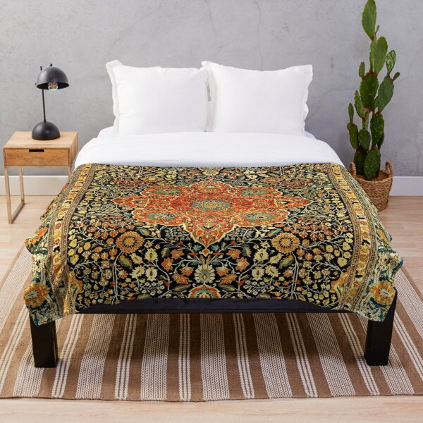 Antique Persian Mohtashem Kashan Rug Print Throw Blanket