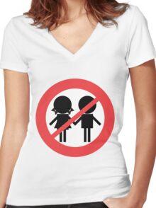 Children Banned Women's Fitted V-Neck T-Shirt