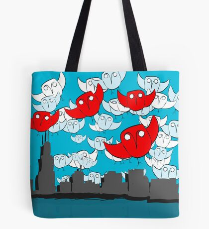 Owl Storm Over Chicago, red white and blue Tote Bag