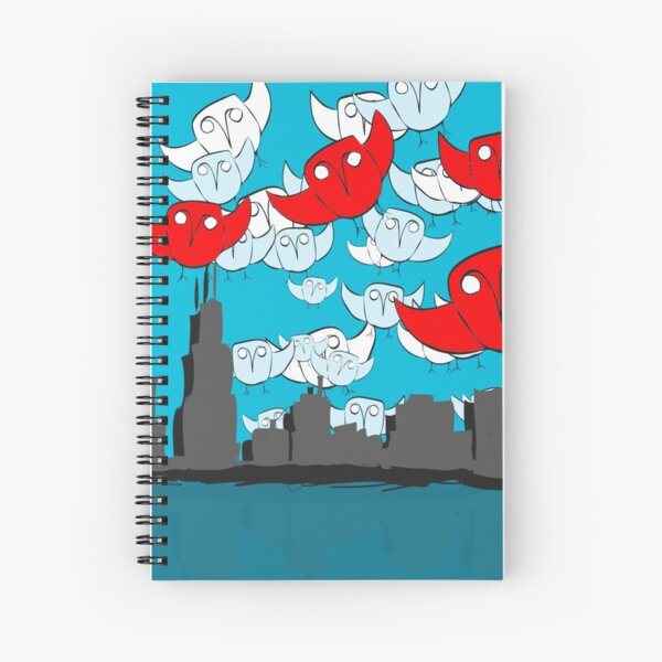Owl Storm Over Chicago, red white and blue Spiral Notebook