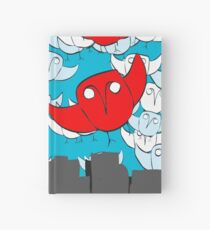 Owl Storm Over Chicago, red white and blue Hardcover Journal