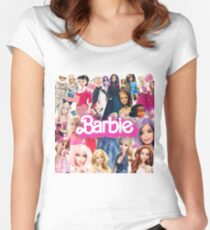Barbie Doll Collage Fitted Scoop T-Shirt