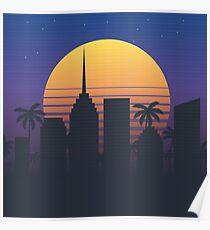 Night city illustration. Cityscape background. Retro poster. Poster
