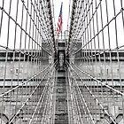 Brooklyn Bridge and American Flag by Sean Sweeney