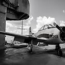 Warbird Up Top On The USS.Hornet BW 3 by Gypsykiss
