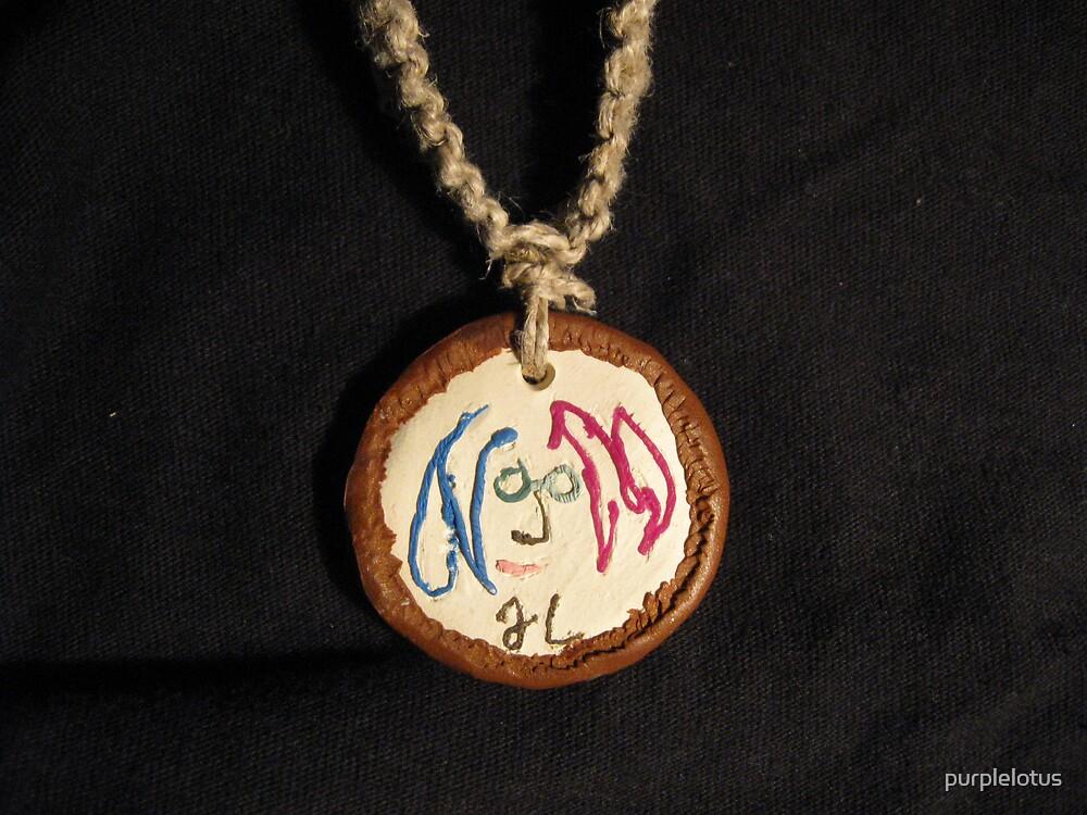 Jonh Lennon Self Portrait Hemp Necklace by purplelotus