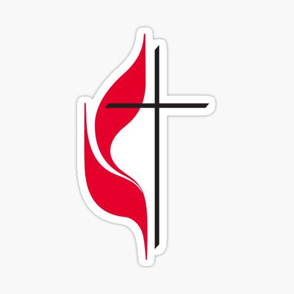 Methodist Cross & Flame Sticker