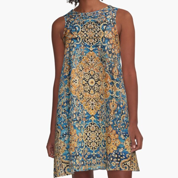 Antique Blue Persian Kirman Rug Print A-Line Dress