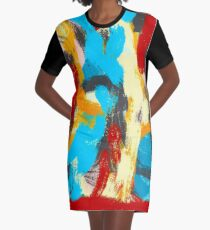 Whiplash Abstract Painting Graphic T-Shirt Dress