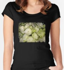 white flowers flowers Women's Fitted Scoop T-Shirt