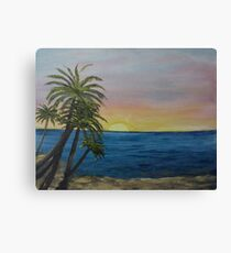 Rainbow Sky & Beach Trees - oil on canvas  Canvas Print