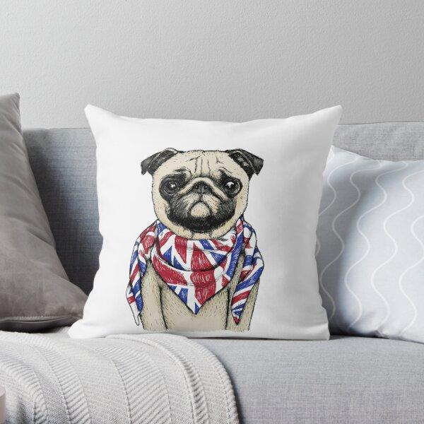 BRITISH PUG Throw Pillow
