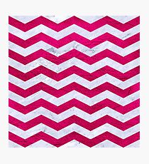 CHEVRON3 WHITE MARBLE & PINK LEATHER Photographic Print