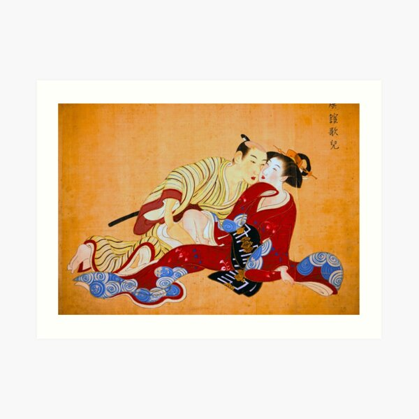 Erotic Art Red Hot Love Japanese Shunga Art Print