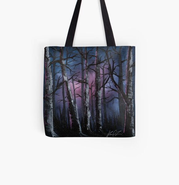 Into the woods, night forest oil painting All Over Print Tote Bag