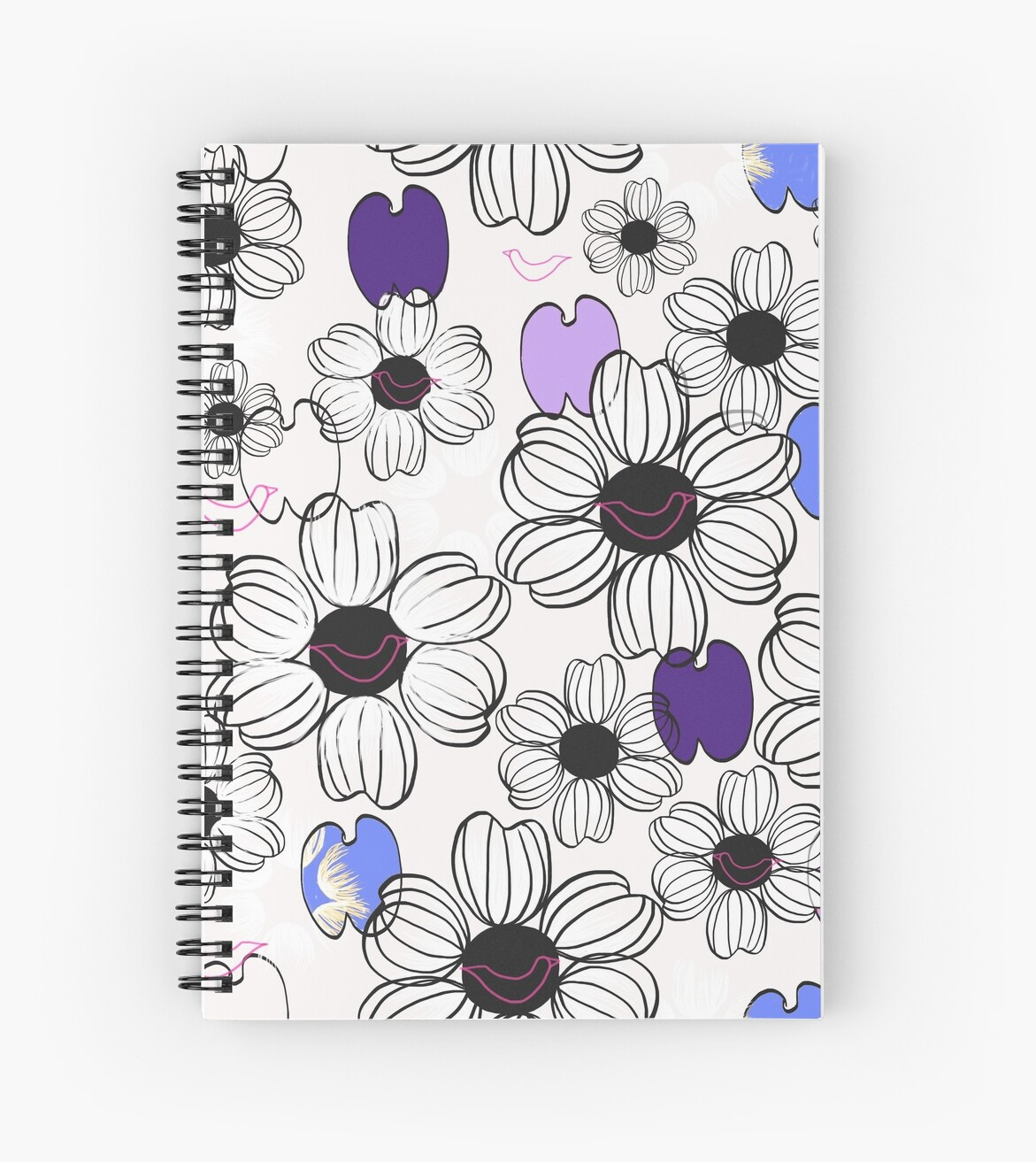 Black and white floral pattern, color by Karine-Anglade