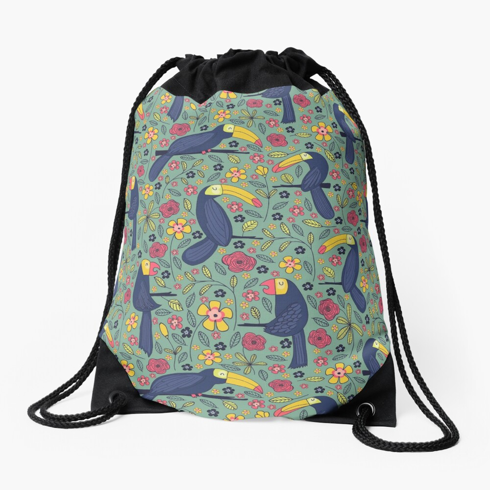 Pattern 83 - Toucans and parrots tropical dream  Drawstring Bag Front