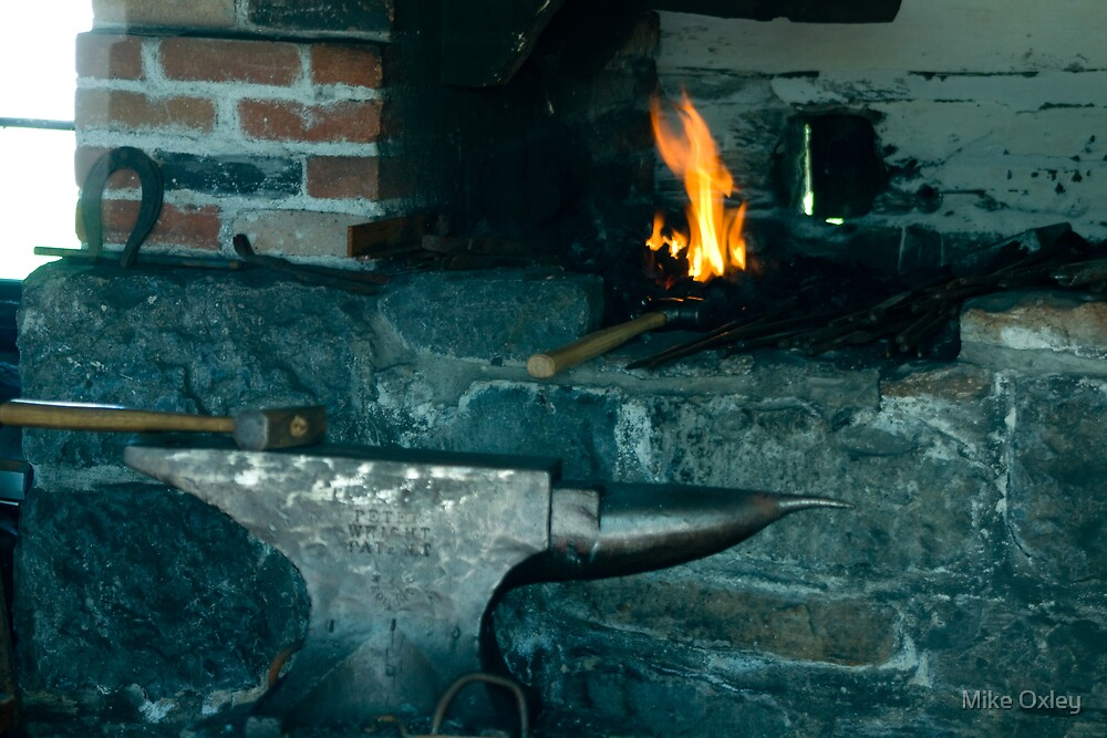 The Forge, J. Kelly Blacksmith and Wheelwright, Upper Canada Village, Ontario by Mike Oxley