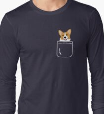 Camiseta de manga larga Corgi In Pocket Funny Cute Puppy Big Happy Smile