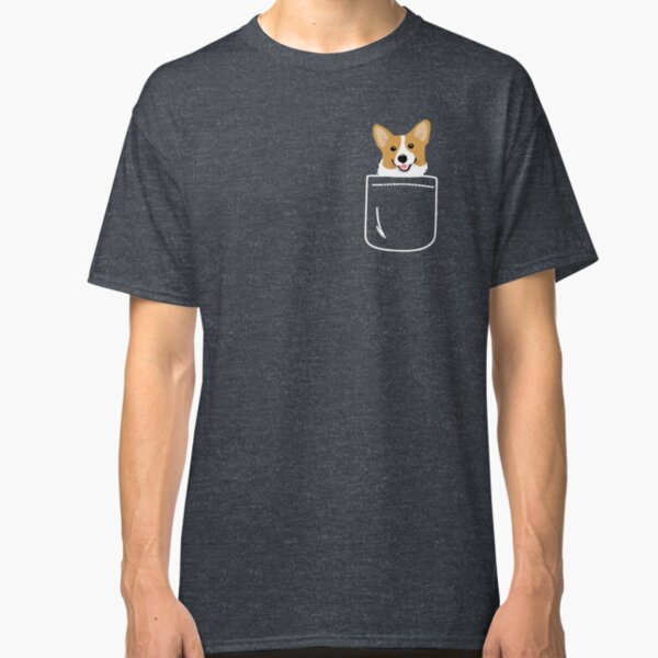 Corgi In Pocket Funny Cute Puppy Big Happy Smile Camiseta clásica