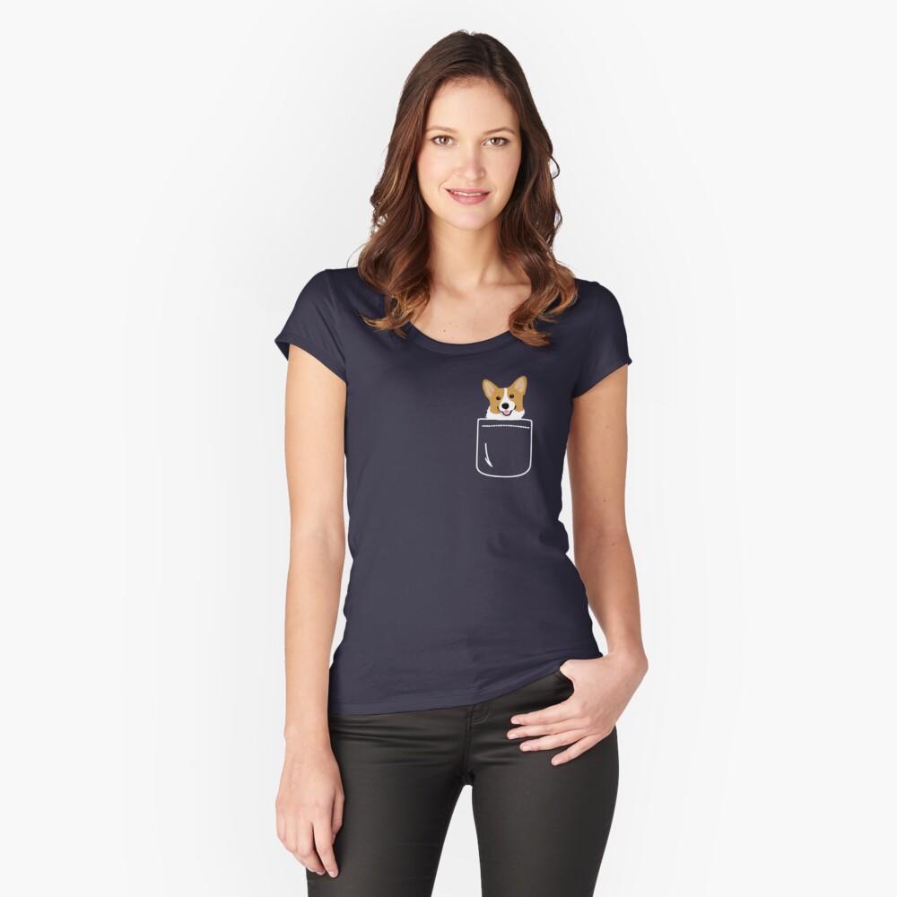 Corgi im Taschen-lustigen netten Welpen-großen glücklichen Lächeln Tailliertes Rundhals-Shirt