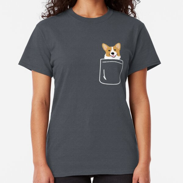 Corgi In Pocket Funny Cute Puppy Big Happy Smile Classic T-Shirt