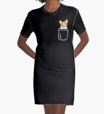 Corgi In Pocket Funny Cute Puppy Big Happy Smile Graphic T-Shirt Dress