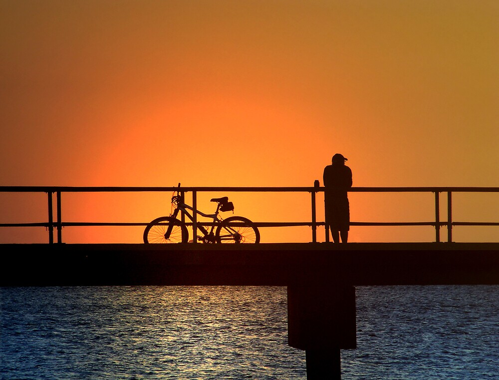 Cyclist's Sunset by Marylee Pope