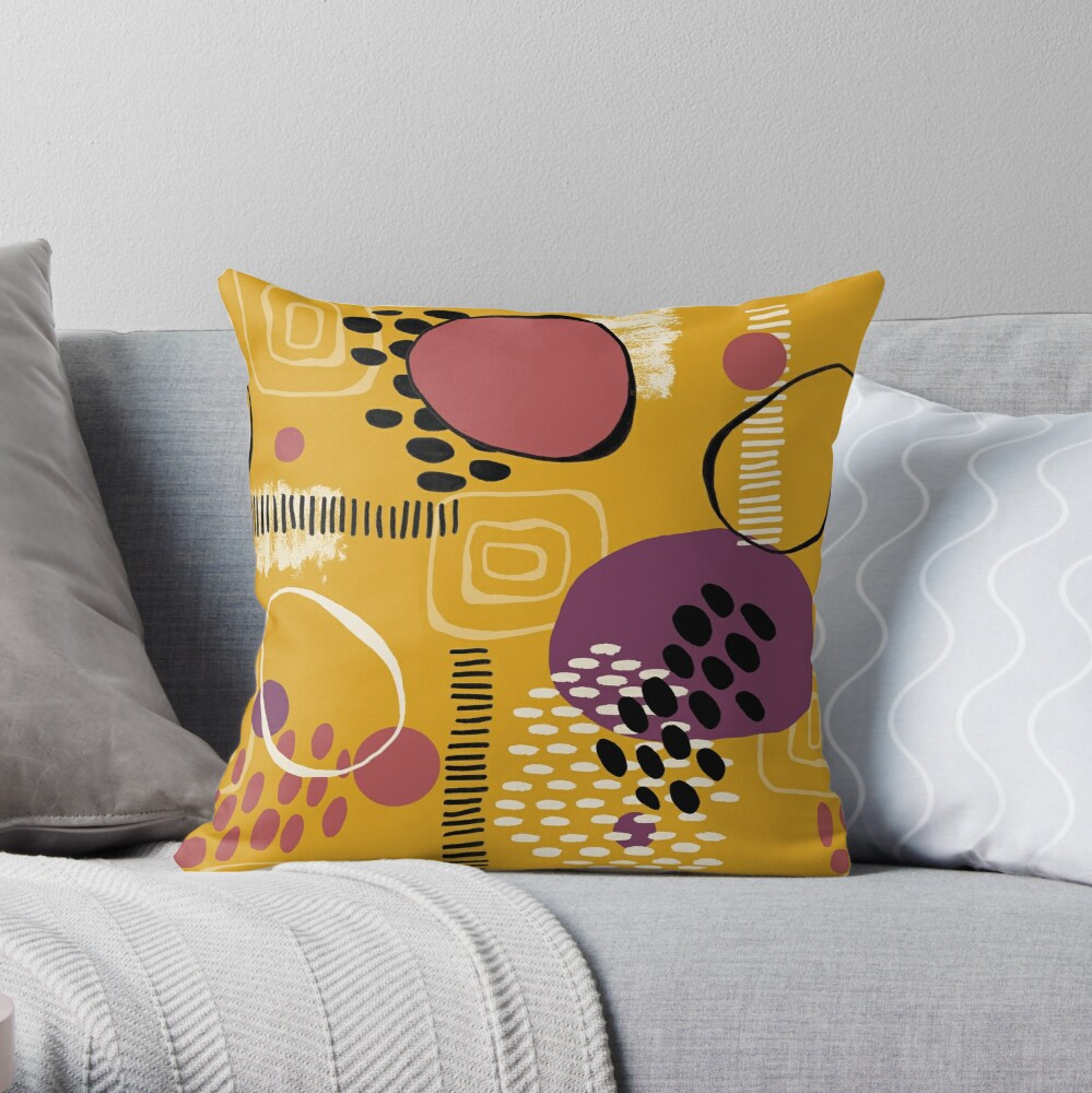Retro mustard mark making pattern Throw Pillow