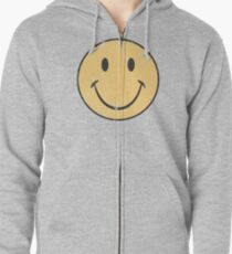 Yellow Smiley Face | Retro Smiley Face Zipped Hoodie