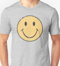 Yellow Smiley Face | Retro Smiley Face Slim Fit T-Shirt