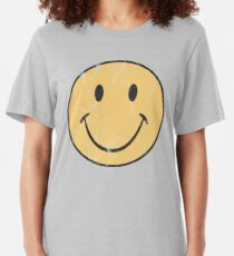 Gelber smiley | Retro Smiley-Gesicht Slim Fit T-Shirt