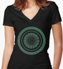 Runic Love Protection Woman Toward Man (green) Women's Fitted V-Neck T-Shirt