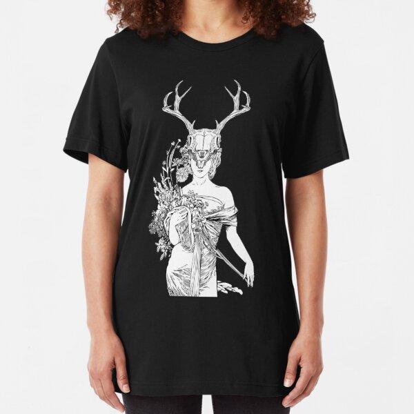 Witch Sorceress Deer Skull Slim Fit T-Shirt