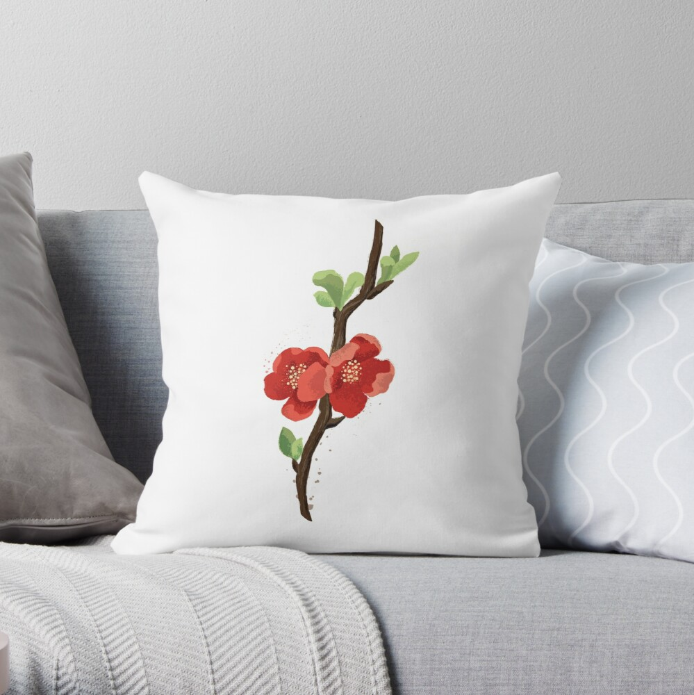 Quince blossom Throw Pillow