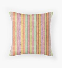 Rainbow wood boards pattern, colorful theme Throw Pillow