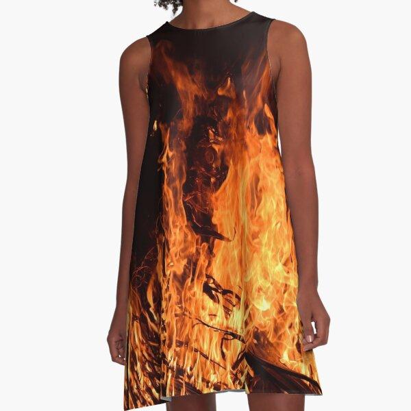 Fire, flames at night, campfire A-Line Dress