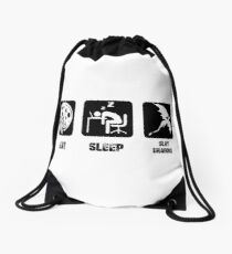 Eat, Sleep, Slay Dragons Drawstring Bag