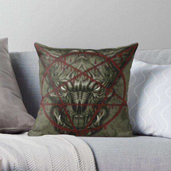 Classical Marble Face monster wall from Doom II Game Throw Pillow