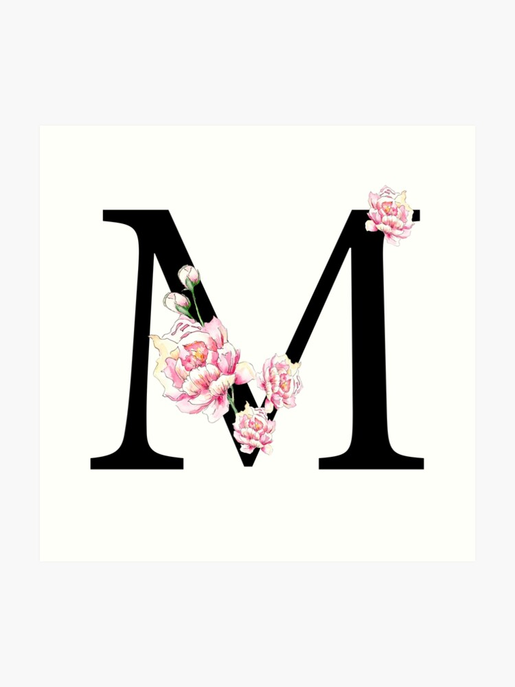 Impression artistique « Lettre M - Pivoines majuscules Alphabet ...