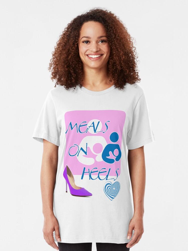 Alternate view of Meals on Heels! Breastfeeding Tee Slim Fit T-Shirt