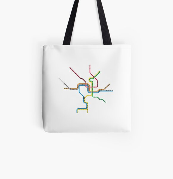 Washington DC Metro Map All Over Print Tote Bag