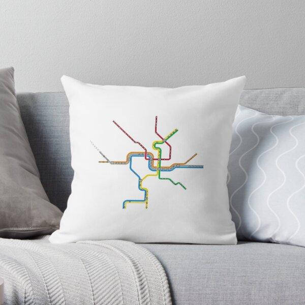 Washington DC Metro Map Throw Pillow