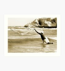 Fisherman on qurum beach Art Print