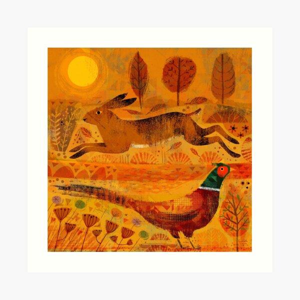 Hare and Pheasant at Sundown Art Print